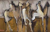 """234 - Geoffrey Key, """"Three Riders"""", oil."""