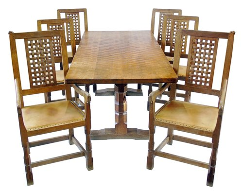 "324 - Robert ""Mouseman"" Thompson table and six chairs."