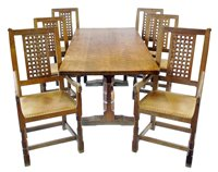 "324 - Robert ""Mouseman"" Thompson table and six chairs."