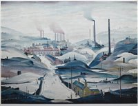"""188 - After L. S. Lowry, """"Industrial Panorama"""", signed print."""