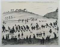 "184 - L. S. Lowry, ""A Hillside"", signed lithograph."