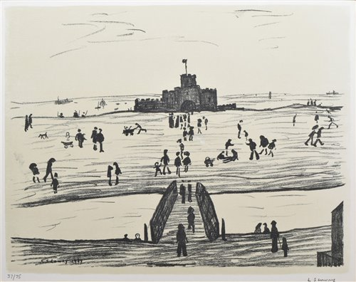 "Lot 182-L. S. Lowry, ""Castle by the Sea"", signed lithograph."