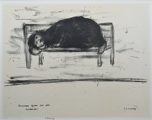 """191 - L. S. Lowry, """"Bloomsbury Square"""", signed lithograph."""