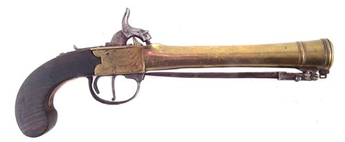 Lot 36-Percussion blunderbuss pistol by Rea & Son London
