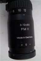 Lot 101-Schmidt and Bender PMII (Police Marksman) 3-12 x 50 rifle telescope