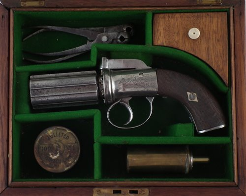 Lot 40-Percussion .120 bore pepper pot pistol