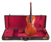 Lot 14-Violin, with two piece back, in fitted leather rectangular case.