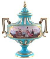 Lot 44-Sevres style lidded vase