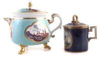 Lot 45-Meissen lidded jug, also a chocolate cup and cover
