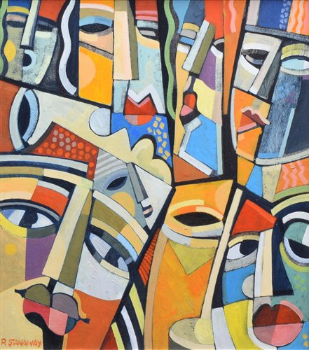 """256 - Peter Stanaway, """"Faces"""", acrylic on board."""