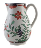 Lot 35-Worcester sparrow beak jug circa 1770, painted in a Kempthorne style pattern