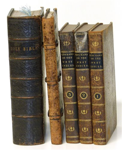 359 - Three volumes 'Notes on the West Indies' by George Pinckard (M.D.) and 1921 dated 'La Vita Nuova' and family Bible.