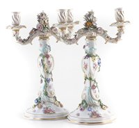 Lot 52-Pair of Dresden candleabras