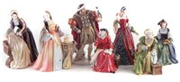 Lot 59-Royal Doulton Henry VIII and six wives figure set