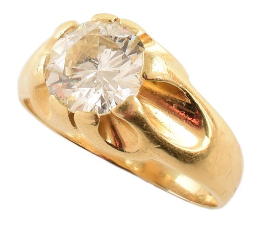 Lot 160-Diamond solitaire Gypsy style 18ct gold signet ring