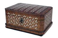 Lot 8-19th century French walnut and bone inlaid box.