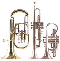 Lot 53-Manhattan trumpet, Danor Euphonium and a Besson Cornet all with cases