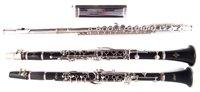 Lot 30-Armstrong clarinet, Buffet clarinet, Lafleur flute, Hohner 64 chromonica