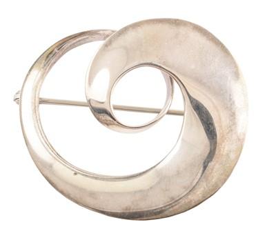 Lot 48-Georg Jensen silver 'continuity' brooch by Vivianna Torun