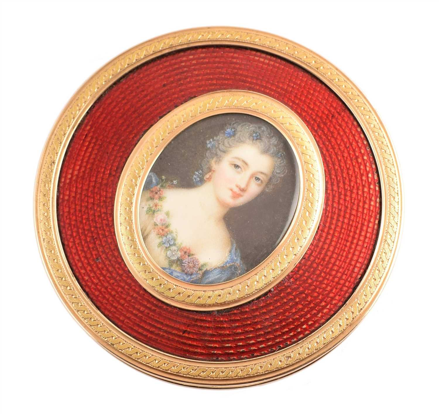 19 - French 18ct gold and enamel round powder box with portrait miniature on ivory