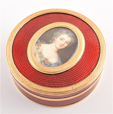 Lot 19-French 18ct gold and enamel round powder box with portrait miniature on ivory