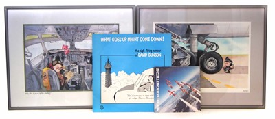 "Lot 135-After Kersten coloured cartoons ""The Old Pro"", ""Hello This is Your Captain Speaking"" and two records vynle records ""What Goes Up Might Come Down"", David Gunson and Red Arrows."