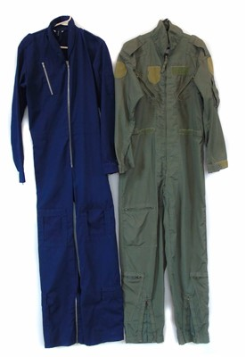 Lot 205-Two Nomex cotton flying suits, size 44 large.