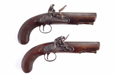 Lot 1-Pair of flintlock overcoat pistols by Sykes Oxford