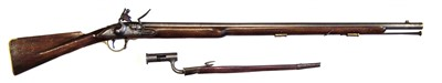 Lot 7-Replica flintlock Brown Bess musket and bayonet
