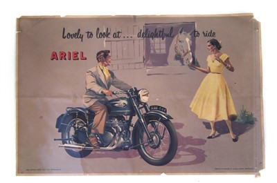 "Lot 123-Promotion poster for Ariel Motors depicting motorcycle with caption ""Lovely to look at....... Delightful to ride"" printed by Allday Birmingham, 52cm (21"") x 77cm (30"")."