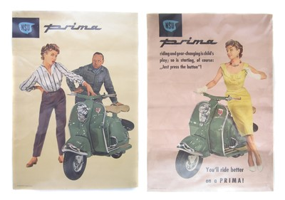 "Lot 124-Two NSU Prima posters, printed in Germany, 59cm (23"") x 42cm (16"")."