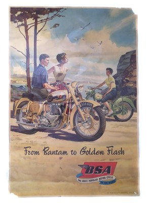 "Lot 125-BSA promotion poster ""From Bantam to Golden Flash"" depicting two BSA motorcycles, 74cm (29"") x 50cm (20"")."