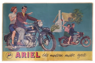 "Lot 126-Promotional poster for Ariel Square Four ""The Modern Motorcycle, 50cm (20"") x 76cm (30"")."