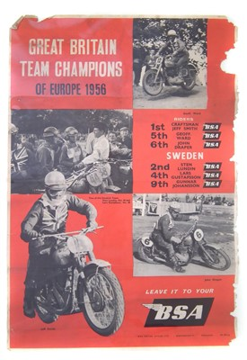 "Lot 127-BSA promotion poster ""Great Britain Team Champions of Europe 1956"", 74cm (29"") x 50cm (20"")."