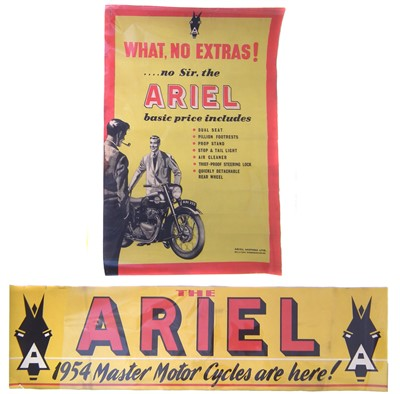 "Lot 128-Ariel Motorcycle promotion poster ""What No Extras!"" 76cm (30"") x 50cm (20"") and a 1954 Ariel Banner poster (24cm (9.5"") x 89cm (35"")."