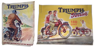 "Lot 131-Poster ""Triumph The Best in the World"", 102cm (40"") x 74cm (29"") and one other poster promoting ""Triumph Terrier 150cc OHV"", 74cm (29"") x 102cm (40"")."
