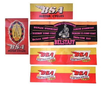 "Lot 132-Four BSA promotional posters and one other Belstaff ""Senior"" TT Stormcoat."