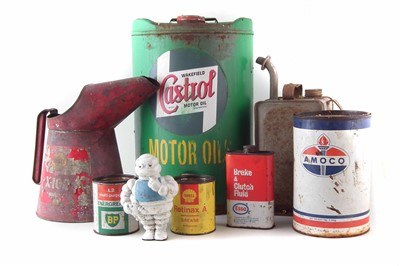 Lot 211 - Castrol Motor Oil 5 gallon drum, Shell oil can, plastic Bibendum Michelin Man etc.