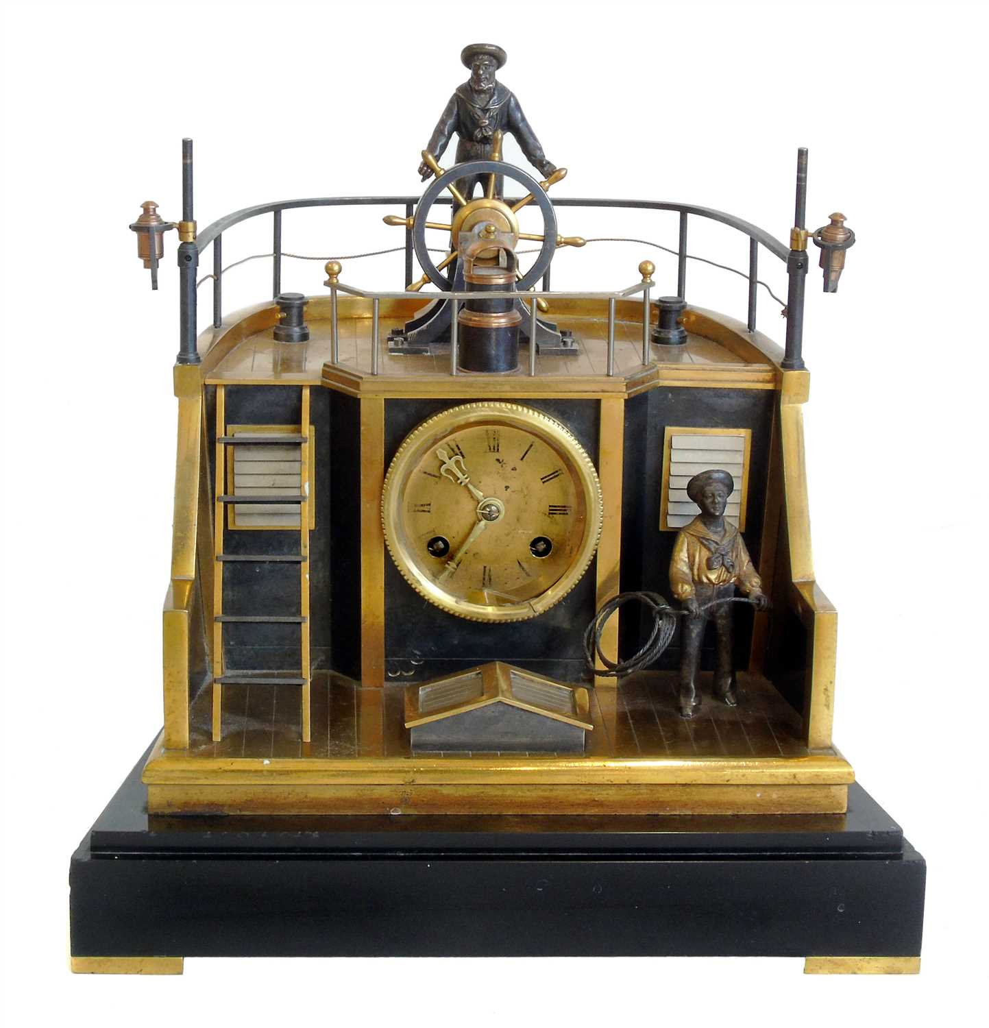 Lot 292-Late 19th century French gilt brass and steel novelty 'quarterdeck' mantel clock