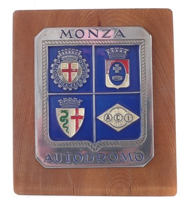 Lot 200-Monza autodromo radiator badge, with enamelled decoration.