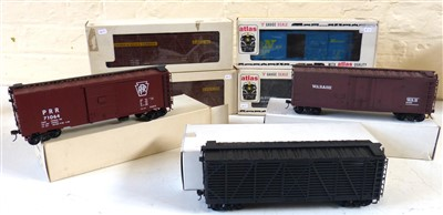 Lot 181-Boxed Atlas stock cars, Rio Grande, Louisville and Nashville, Armour stock express (2) Wabsh, PRR and Stock car