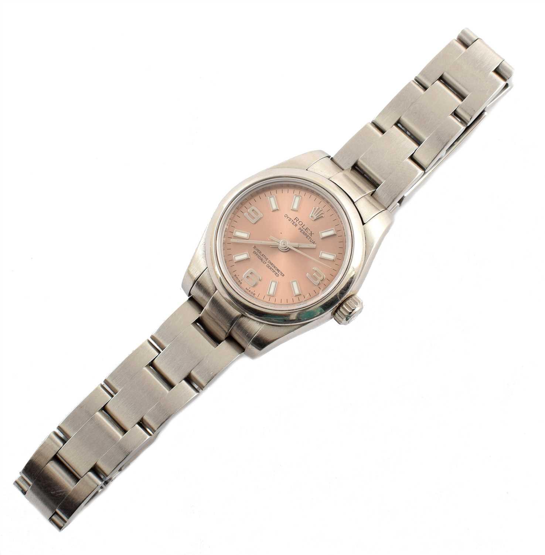 131 - A Lady's Rolex Oyster Perpetual steel bracelet watch.