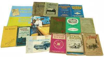 Lot 167-Small box of automobilia books plus R.A.C Key