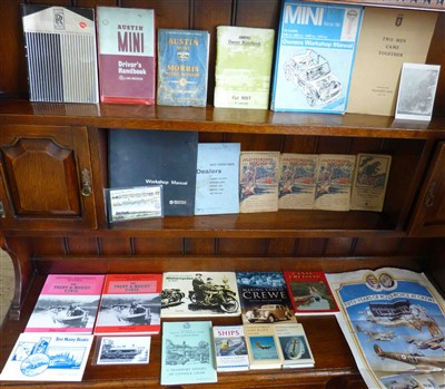 Lot 165-Four Motoring and Hiking Maps (A.M.&K), OS Map 10 mile map of G.B., Rolls-Royce 50 Year Anniversary poster and two books (The Best 599 R.R. Stories and Two Men Came Together), Quantity of car manuals