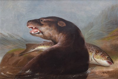 Lot 446-H.L. Rolfe, 19th century, Otter with fish, oil.