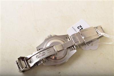 Lot 142-A Gent's Rolex Oyster Perpetual date GMT-Master-II steel bracelet watch.