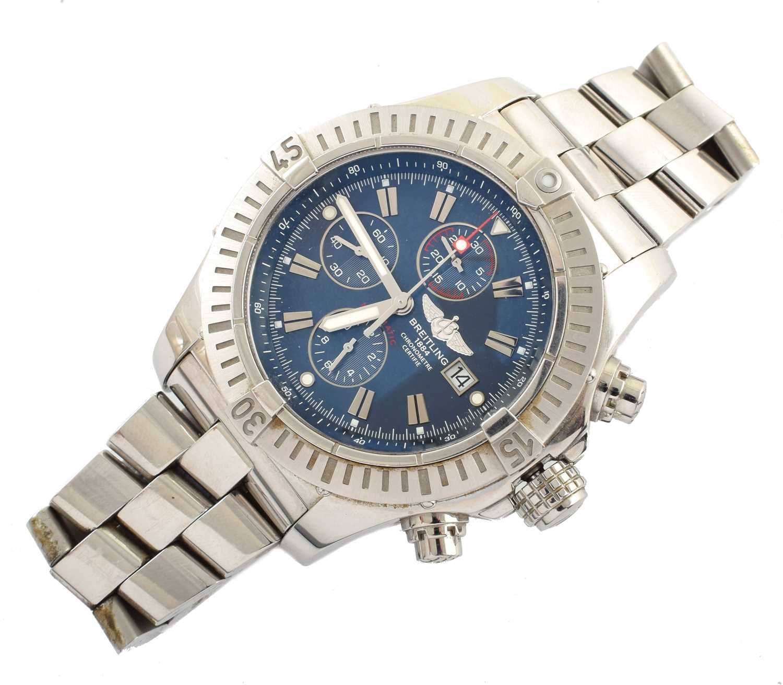 136 - A Gent's Breitling Super Avenger steel chronograph bracelet watch.