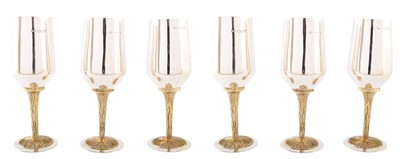 Lot 3-A 1970s set of six silver and silver gilt goblets