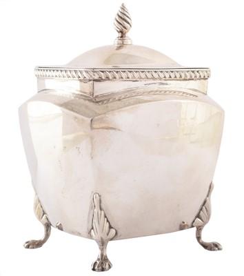 Lot 54-Silver tea caddy 1900, four paw feet