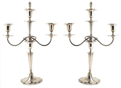 Lot 45-A pair of 1920s Mappin & Webb silver 3-branch candlearbrum